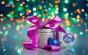 paarse strik kerstkado
